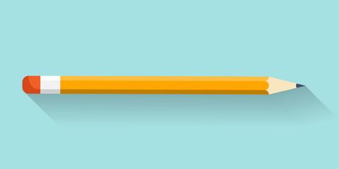 Pencil in a flat style. Drawing. Office supplies. Vector illustration.