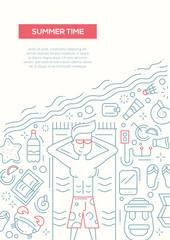 Summer Time - line design brochure poster template A4