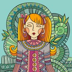 Vector decorative cartoon young woman