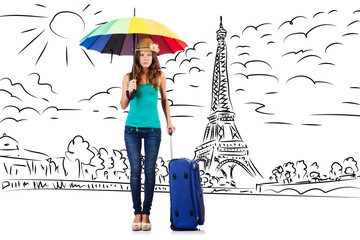 Young woman travelling to Paris