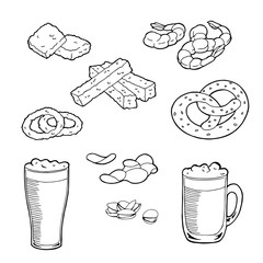 Beer snack graphic set art black white isolated illustration vector