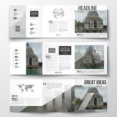 Set of tri-fold brochures, square design templates. Polygonal background, blurred image, urban landscape, modern stylish triangular vector texture.