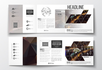 Set of tri-fold brochures, square design templates. Dark polygonal background, blurred image, night city landscape, Paris cityscape, modern triangular vector texture