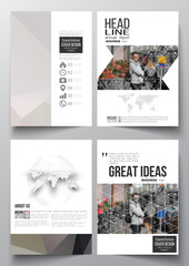 Set of business templates for brochure, magazine, flyer, booklet or annual report. Polygonal background, blurred image, urban landscape, cityscape, modern triangular texture