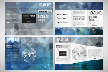 Set of tri-fold brochure design template on both sides with world globe element. Abstract blue polygonal background, colorful backdrop, modern stylish vector texture.
