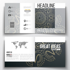 Set of square design brochure template. Polygonal backdrop with golden connecting dots and lines, connection structure. Digital scientific background