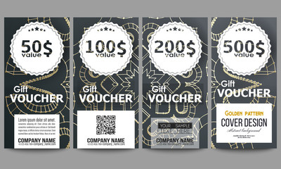Set of modern gift voucher templates. Polygonal backdrop with golden connecting dots and lines, connection structure. Digital scientific background