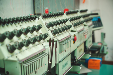 Machines on the textile factory.