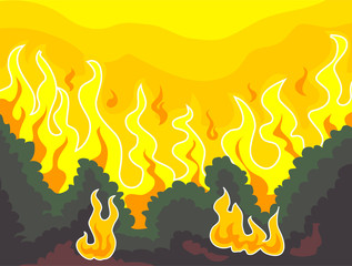 Vector Illustration of Forest Fire