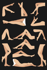 Woman legs in different poses set