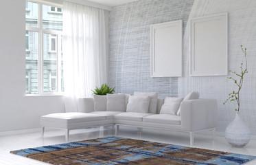 Bright white modern living room interior