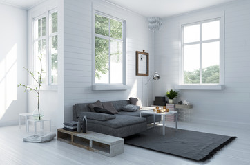 Cozy corner in a stylish white living room