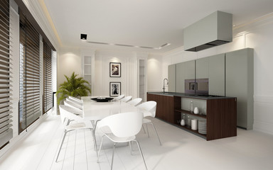Stylish luxury white dining and kitchen area
