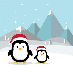 Penguins standing on white snow in Antarctica's winter background. Cute Penguin cartoon  with ice mountain flat design. vector illustration.