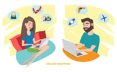 Happy woman and happy man doing online shopping at home