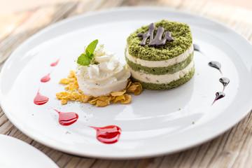 green tea cake on dish