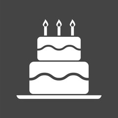 Birthday cake flat icon. Fresh pie muffin on black background