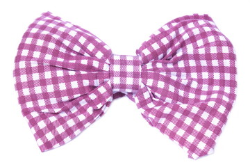 Bow tie red white plaid on isolated white background