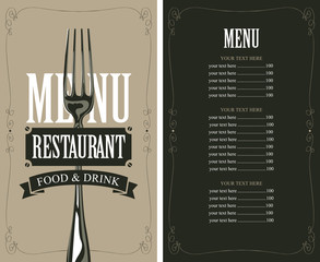 menu with fork for the restaurant in retro style wit price