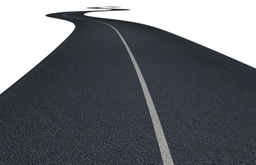 asphalt road with curves isolated on white
