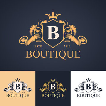 elegant luxury monogram logo or badge template with scrolls and royal crown - perfect for luxurious branding projects
