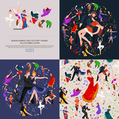 Group of dancing people, yong happy man and woman dance together and in a couple, girl sport dancer, happy boy, dance background vector illustration pictogram isolated