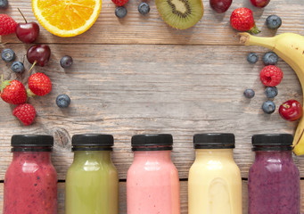 Fruit smoothies background with space
