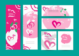 Vector collection of abstract creative stroke cards. Artistic graphic design. Invitation, leaflet, postcard sample. Congrats, marry, valentine, wedding. Poster, placard, business card. Ink drawing.