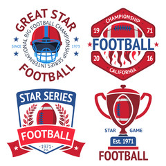 Set of american football rugby labels with ball, burning , helmet, winner bowl. Vector