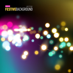 Abstract city background with bokeh lights