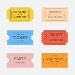 Ticket vector icons