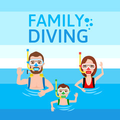 divers father mother son. family diving concept illustration.