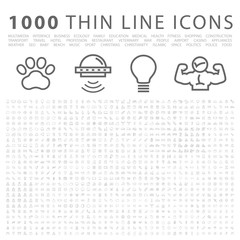Set of 1000 Isolated Minimal Modern Simple Elegant White Icons.