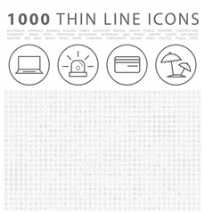 Set of 1000 Isolated Minimal Modern Simple Elegant Black Icons on Circular Buttons on White Background.