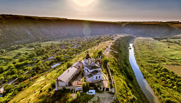 Christian Orthodox church in Old Orhei, Moldova. Aerial view fro