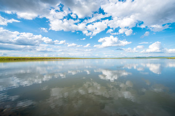 beautiful reflection of blue sky and cloudscape in water lake