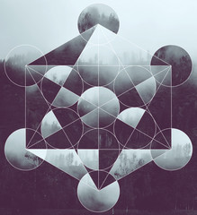 Collage with the landscape and Metatron's Cube