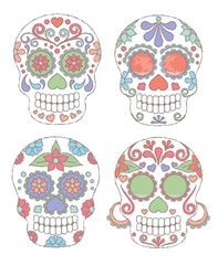 Vector Set of Watercolor Style Day of the Dead Skulls or Sugar Skulls