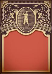 Golf retro card. Organized by layers
