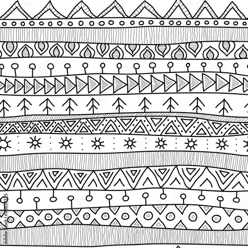 Vector: Tribal black and white seamless pattern, indian or african ...