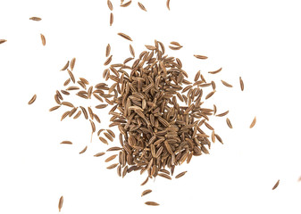 Cumin seeds or caraway isolated on white background