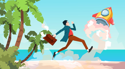 Business Man Run Space Rocket New Idea Startup Concept Tropical Seaside Background