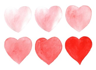Hand drawn watercolor hearts isolated on white background