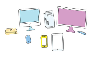 Doodle colored gadgets on white