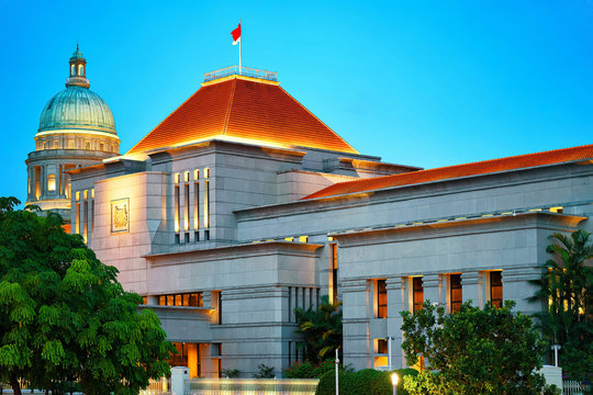 Parliament and Old Supreme Court Building at Boat Quay Singapore
