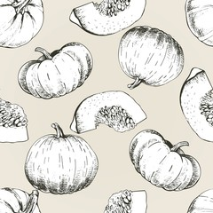 Vector seamless patern of pumpkin. Hand drawn engraved vintage illustration. Autumn harvest.