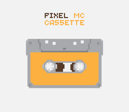 Pixel MC Cassette, retro record medium, pixelated illustration. - Stock vector