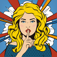 Pin up woman putting her forefinger to her lips for quite silence. Pop art comics style. Vector illustration. Pop art girl says shhh