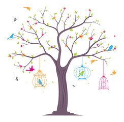 colorful Birds with tree and birdcage