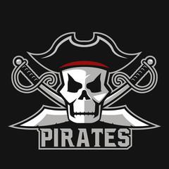 Modern professional pirates logo for sport team. Pirate mascot for sport teams. Pirates, vector logo, symbol on a dark background.